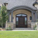 Celebrity Front Doors- Beautiful dark wood-look fibreglass door with side lites