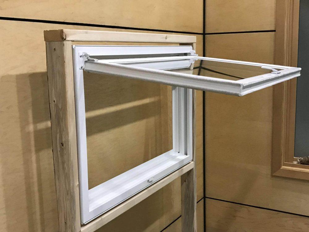 Fully opened egress window in display room