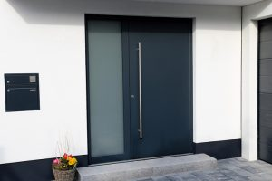 front door with privacy glass.