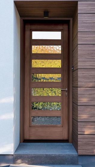 Mastergrain modern door with horizontal window lites