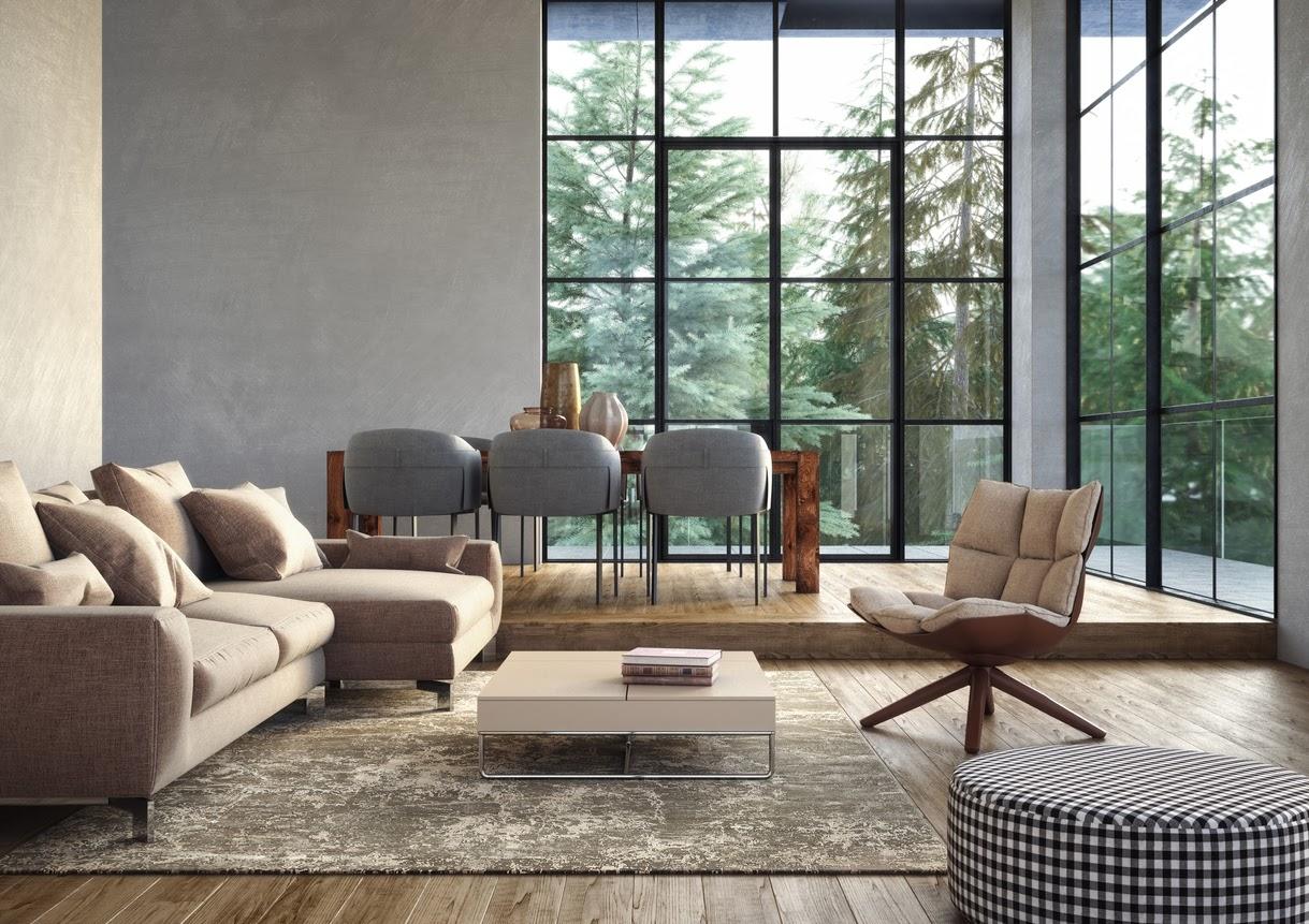 large black frame windows in a modern living room
